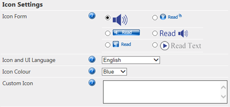 Voice Reader Web 15 Configuration - Icon Settings