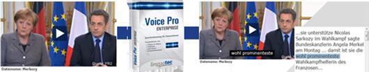 Voice Pro Enterprise Erkennung Merkel und Sarkozy