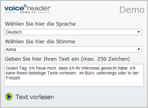 Text-to-Speech Demo - Voice Reader Home 15 Stimmen