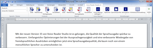 Screenshot Voice Reader Studio 15 - Direkte Integration in MS Word, Outlook, PowerPoint